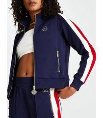 river island womens navy stripe zip through sweatshirt