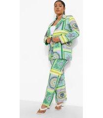 plus sjaal print broek, green