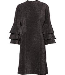 ruffled dress with lurex jurk knielengte zwart scotch & soda