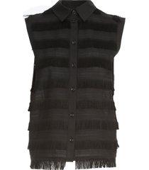 love moschino sleeveless shirt w/fringes
