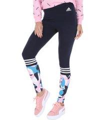 calça legging adidas sid tight aop - feminina - azul esc/rosa cla