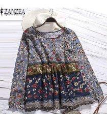 zanzea impresa flor superior o las mujeres de cuello camisa de manga remiendo del largo de la blusa azul -azul