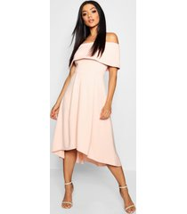 off the shoulder dip hem skater dress, nude