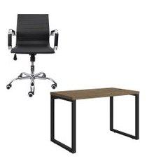 mesa escritório kappesberg 1.20m cadeira presidente trevalla office silver