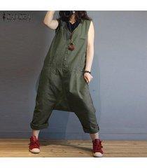zanzea verano de las mujeres sin mangas de cuello v flojos del mono peto pantalones largos -ejercito verde