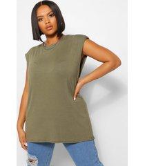 plus shoulderpad tunic top, khaki