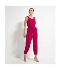 macacão alça larga com elástico e amarração na cintura em crepe | a-collection | vermelho | gg