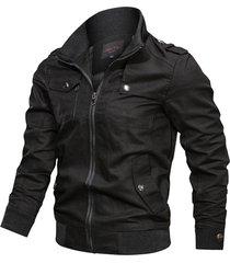 chaqueta tipo militar piloto hombres algodon 226-c03 negro