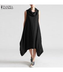 zanzea de las nuevas mujeres holgados floja ocasional maxi largo del vestido del boho sin mangas vestidos de kaftan -negro