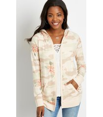 maurices womens pink floral open front hooded cardigan
