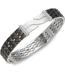 effy men's sterling silver & black ruthenium bangle bracelet