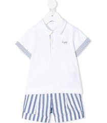 il gufo striped short tracksuit set - white