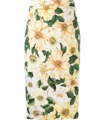 dolce & gabbana floral-print mid-length skirt - yellow