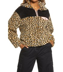 women's bp. leopard colorblock fleece pullover, size small - brown