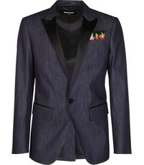 dsquared2 blue cotton blazer