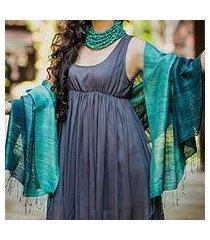 silk shawl, 'bold teal' (thailand)