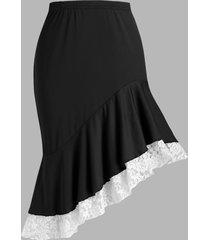plus size lace insert flounced irregular skirt