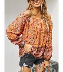 camicetta casual da donna a maniche lunghe con stampa floreale collo