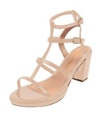 sandália salto alto grosso rosa chic calçados tiras gladiadora nude