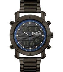 kenneth cole reaction men's analog-digital gunmetal stainless steel bracelet watch 45mm