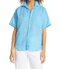 women's frank & eileen rose linen button-up shirt, size x-large - blue