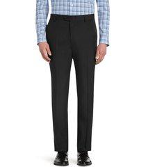 jos. a. bank men's traveler performance tailored fit flat front pants, black, 33x29