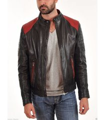 men's stylish retro leather jacket with red shoulders, men leather jacket