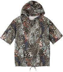 shirt met capuchon, olijf-motief 44/46