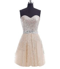 cheap stunning sweetheart sequin crystals champagne homecoming dress/party dress