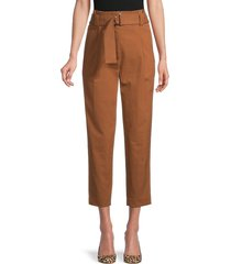 a.l.c. women's diego belted cropped pants - deep mocha - size 2
