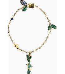 braccialetto bamboo panda, multicolore scuro, placcato color oro