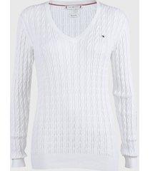sweater tommy hilfiger blanco - calce ajustado