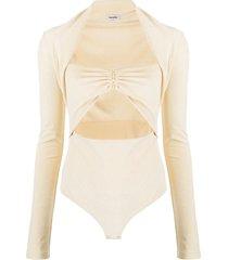 nanushka heidi cut-out velvet bodysuit - neutrals