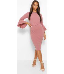flared sleeve belted midi dress, rose