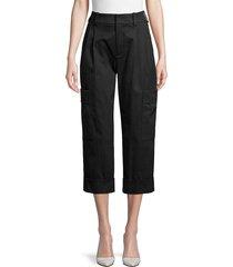 vince women's cropped cargo pants - black - size 0