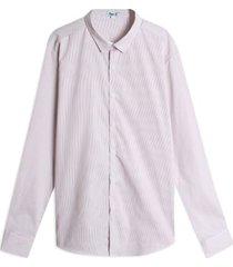 camisa rayas cuello mini color rosado, talla l