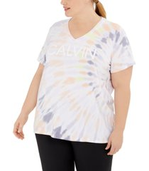 calvin klein performance plus size v-neck tie-dyed logo t-shirt