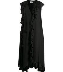 victoria beckham cape-style sleeve ruffled dress - black
