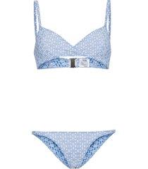 lisa marie fernandez yasmin seersucker triangle bikini - blue