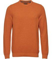 pullover long sleeve stickad tröja m. rund krage orange marc o'polo