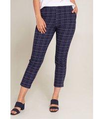 pantalón de cuadros en lana azul 4
