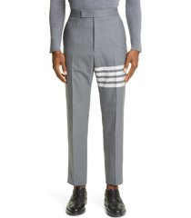 men's thom browne 4-bar melange wool pants, size 3 - grey