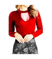 body choker feminino collant blusa feminina viscolycra gota com elastano vermelho