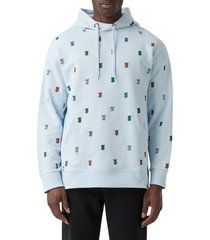 men's burberry krepston embroidered monogram hoodie, size small - blue