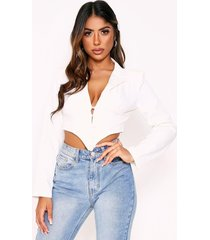 button front plunge blazer top, white