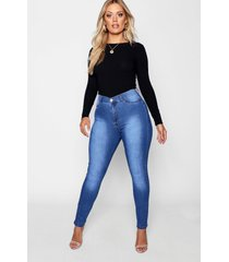 plus super high waisted power stretch jeans, mid blue