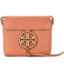 tory burch miller shoulder bag in brown leather with maxi gold logo