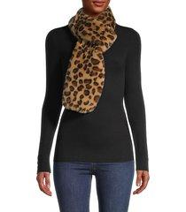 saks fifth avenue women's leopard-print faux fur scarf - brown multi