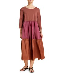plus size women's marina rinaldi oliveto mixed media tiered midi dress, size medium - burgundy