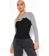 2-in-1 gebreide top & arm warmer, grey
